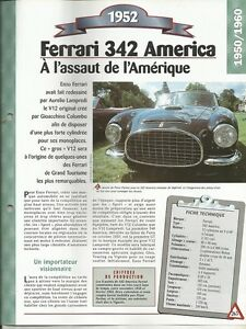 VOITURE FERRARI 342 AMERICA FICHE TECHNIQUE AUTOMOBILE 1952 COLLECTION AUTO