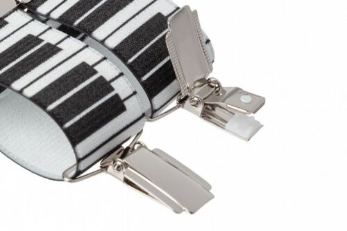 Mens Piano Key Music Trouser Braces Suspenders Silver Clips XL Extra Long
