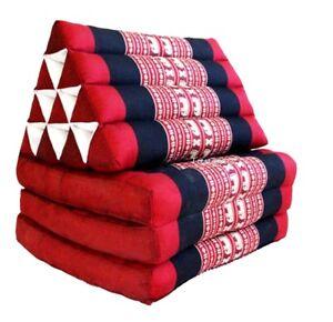 ORGANIC-KAPOK100-Triangle-THAI-CUSHION-PILLOW-3-Fold-Day-Bed-RED-ELEPHANT