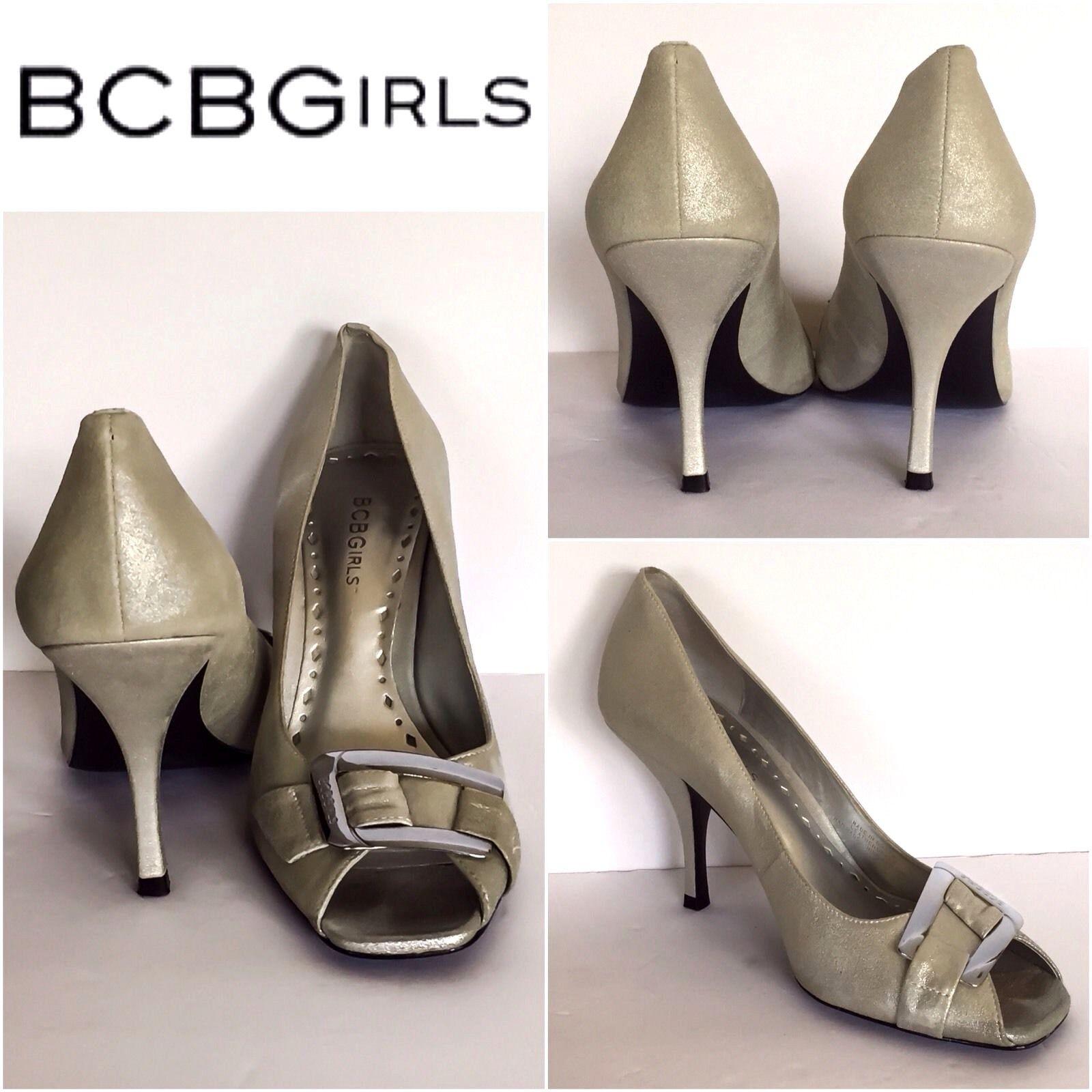 BCBGirls Heels Open Toe Slip On Heels BCBGirls Size 7.5 Womens Metallic Silver Buckle Top cb4b7c