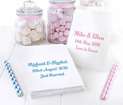 100 Personalised White Paper Sweet Bags for Wedding Favour Buffet Candy