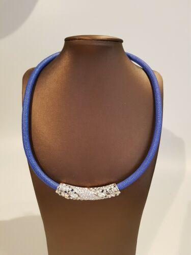 "Collier /""Blue/"" de latón imán cierro 45 cm rochenoptik plateado rhodiniert"