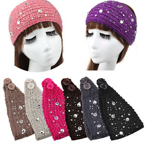 Hot! Turban Women Crochet Ear Warmer Headband Knit Hair Band Big Rhinestone  Lit