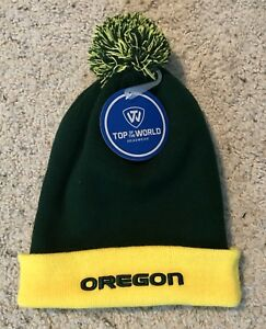 2cf07bcdd9d NWT Oregon Ducks Football Pom Beanie Knit Hat Top of the World ...
