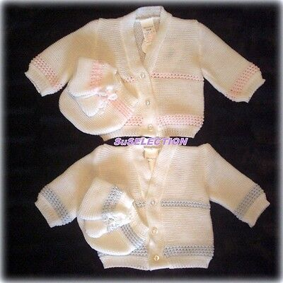 Hand Knitted White Baby Cardigan BNWT 0-3 //3-6// 6-9// 9-12 Months