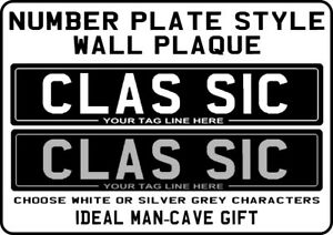 9-034-x-2-034-METAL-PLAQUE-Classic-Black-Number-Plate-design-bike-motorcycle-no-plates