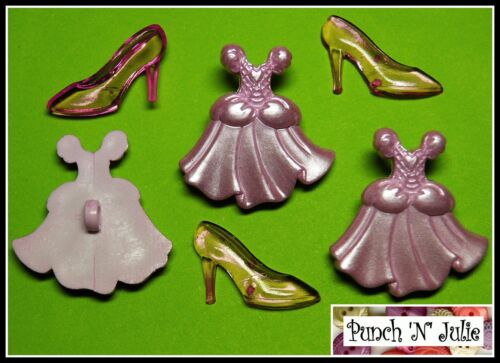 DRESS /& GLASS SLIPPER Happily Ever After Cinderella Fairy Godmother Buttons