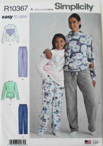 Simplicity 9019 Misses Girls Loungewear Pajamas Sewing Pattern Sz 6-16//XS-XL