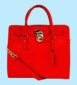 Image Is Loading Michael Kors Mandarin Red Orange Hamilton Saffiano Leather