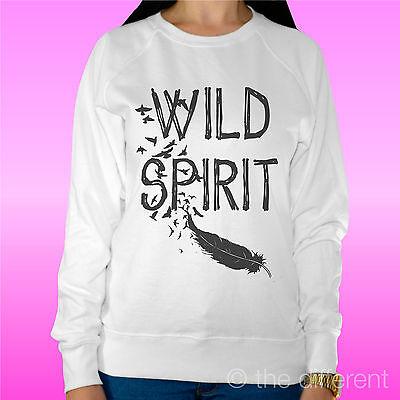 """Attento Felpa Donna Leggera Sweater Bianco """" Wild Spirit """" Road To Happiness Risparmia Il 50-70%"""