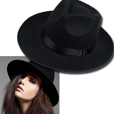Vintage Women Ribbon Wide Brim Faux Wool Felt Hat Floppy Bowler Fedora Cap