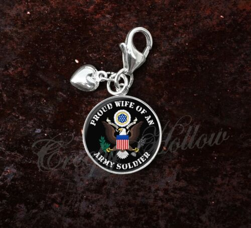 Sterling Silver Charm Army Soldier Proud Choose Family