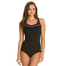 SPEEDO HIGH NECK PIPED ONE PIECE SWIMSUIT CUT OUT BACK BLACK SIZE 8 NEW! $84