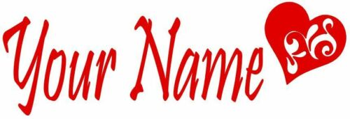 Custom Name with Heart Decal ~Made to Order~ Choose Your Color ~ No Background