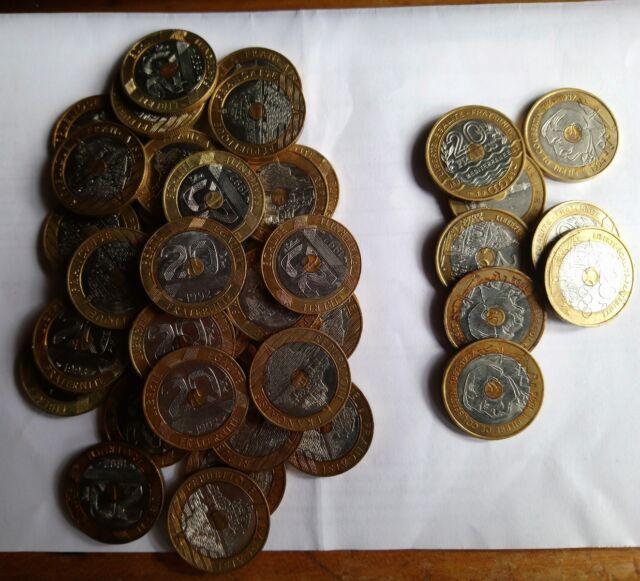 Pièce de 20 francs commémoratives Coubertin Saint Michel JO années 1992 à 1994