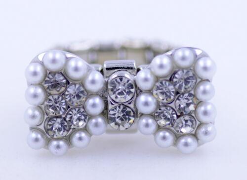 Vintage Estilo Art Deco Plata Y Perlas Moño Anillo