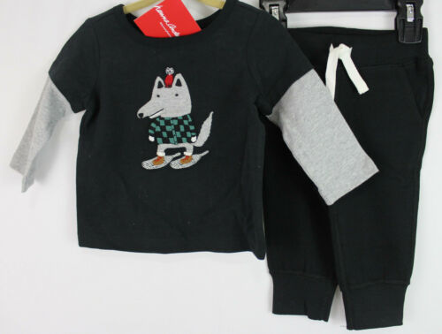 Hanna Andersson Critter shirt Pants Set Outfit Black Size 75 12-18 NWT