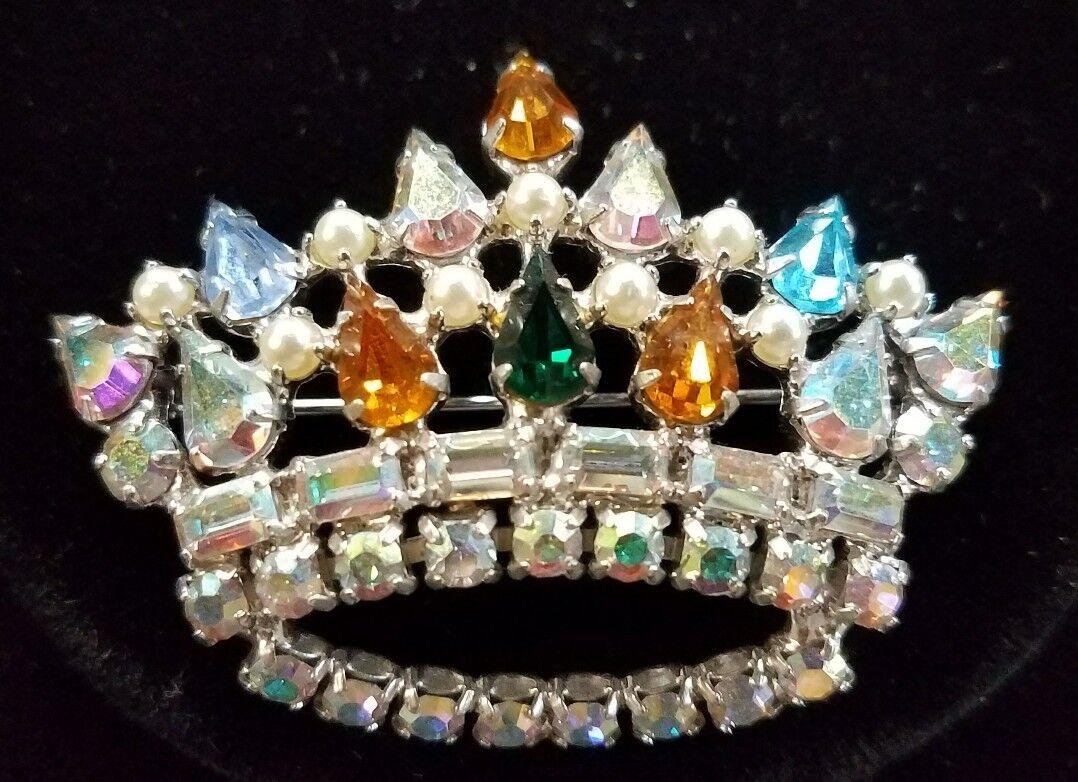 Vintage Signed - B. David - Aurora Borealis Crown Pin - Rhinestones 1950's