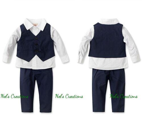 Baby Boy Formal Suit Tuxedo Christening Wedding Shirt Pants Set Size 0-5 Vest