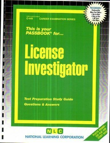 National Learning Corporation-License Investigator BOOK NEW