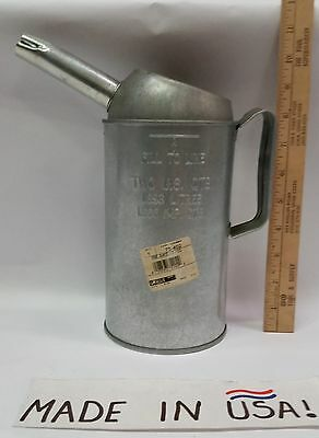 Plews 1 Quart Oil Measure Galvanized Steel Fixed Spout USA Made