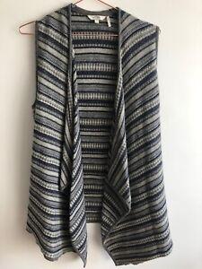Fat Face   Size S   Navy Blue Wool Blend Fair Isle Vest Sleeveless Open Cardigan