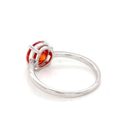 925 Sterling Silver Orange Round Cut Cz Cluster Ring