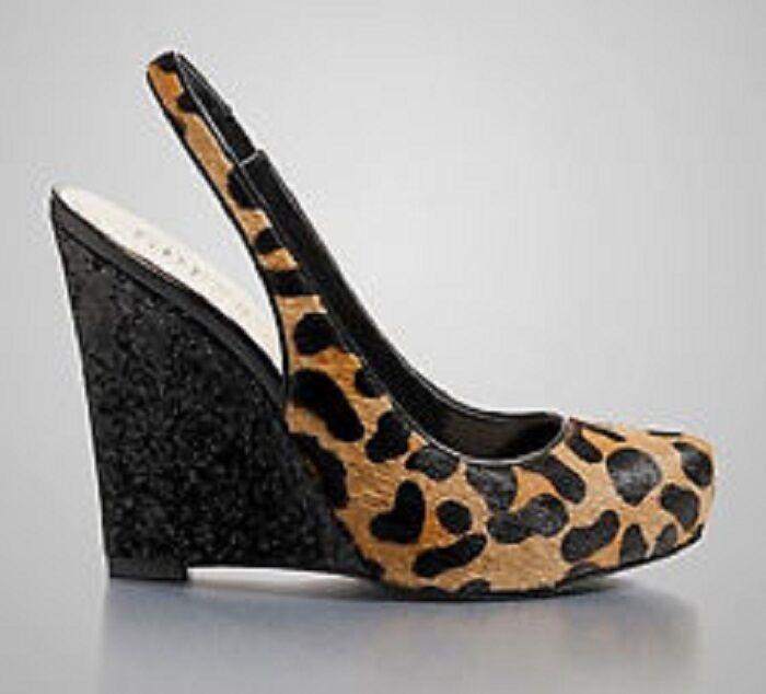 GUESS Russoly Braun Leopard Calf - Hair Slingback Wedge Schuhes - Calf MSRP 120 5f6b4f
