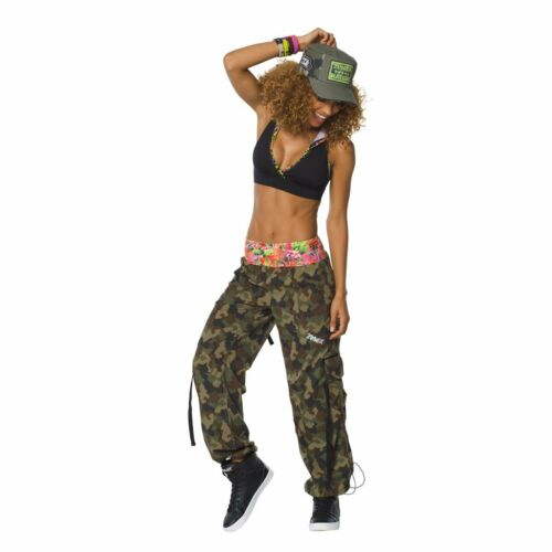 Patched Cap S M L Mashed Up Cargo Capri Pants+Hooded Bra ZUMBA Nation 3Pc.Set!