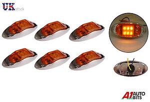6-x-LED-amber-orange-side-chrome-marker-lights-indicator-trailer-truck-lorry-12V