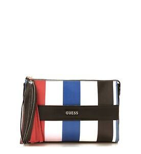 bcec5a1c08c Image is loading GUESS-White-Multicolour-Evening-Bag-Stripe-Motif-Tassel-