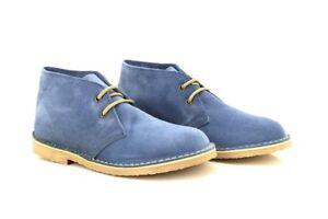 Roamers 2 L777 Damen Echt Stiefel Knöchelhohe Mode Denim Leder Öse Blau 7qr7wEx