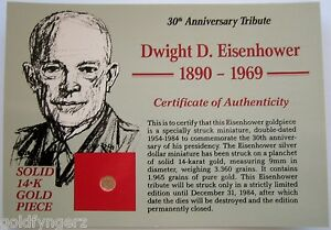 14K-Solid-Yellow-Gold-Eisenhower-034-IKE-034-30th-Anniversary-Tribute-Coin