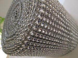 0-5m-elegante-Strass-Band-Borte-Nichtelastisch-Spitze-Silber-11-8cm-Breit-PT-041