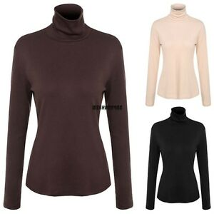 Women-Long-Sleeve-Turtleneck-Casual-Slim-Tops-Winter-Slim-T-shirt-Blouse-IXH4