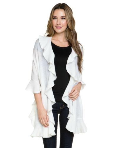 NWT Magaschoni Ruffle Cashmere Wrap Shawl $378 Black Ivory MANY OTHER COLORS