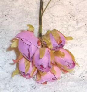 L. PINK millinery Vintage style 6 silk ROSE BUD fabric flower CISSY HATS! dolls