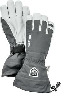 2020 Men's Hestra Army Leather Heli  5 Finger Ski Gloves Size 10 Grey 30570