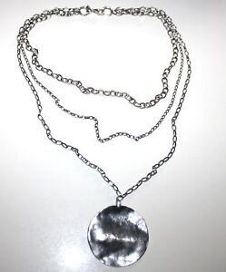 Silpada-Sterling-Oxidized-Circle-Pendant-Triple-Chain-Necklace-N1725-Rare-925
