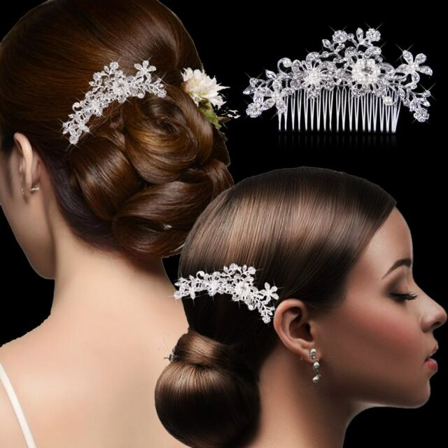 New Bridal Wedding Crystal Flower Rhinestone Pearl Hair Comb Hair Accessories