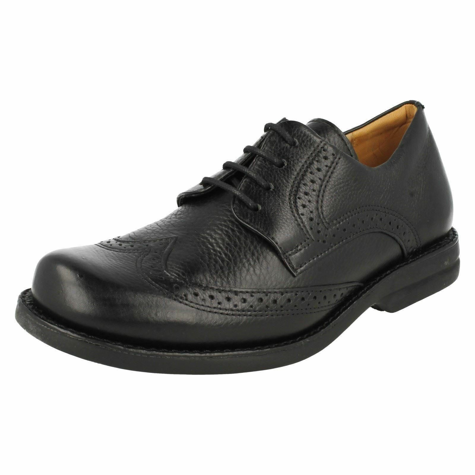 Mens Anatomic Black Leather Lace Up Brogue Shoes Palmas