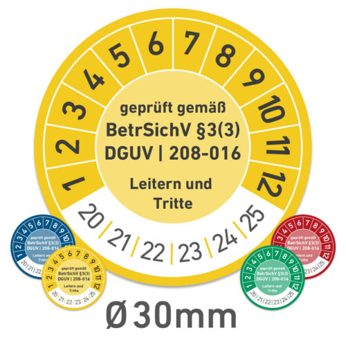 Leitern und Tritte Wartungsplaketten Prüfplaketten geprüft gemäß BetrSichV