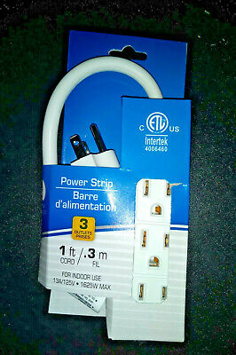 Power Strip Bar 1 Ft Extensions Cord Heavy Duty 3 Prong Multi New