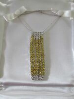 Vintage Suzanne Somers Yellow / White Cz 5 Strand Necklace And Earring Set