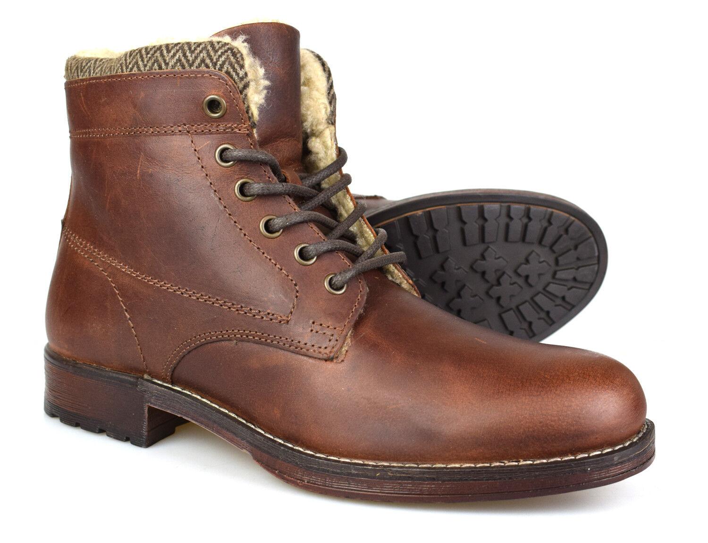 rojo Tape Frampton Madera Cuero Marrón Forro de Piel botas Casual Ru 7-12