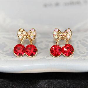 Women-Sweet-Charm-Cystal-Cherry-Bowknot-Stud-Earrings-Rhinestone-Earings-JX