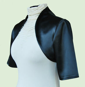 New-Women-Black-Wedding-Prom-Satin-Bolero-Shrug-Jacket-Sizes-S-M-L-XL-XXL