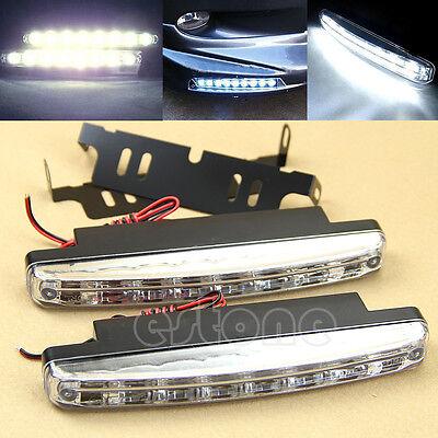 New 2 pcs Car Daytime Running Light 8 LED DRL Daylight Kit Super White Head Lamp