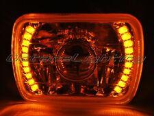 7X6 Amber LED Halo Projector Halogen Crystal Headlight Angel Eye H4 Light Bulb