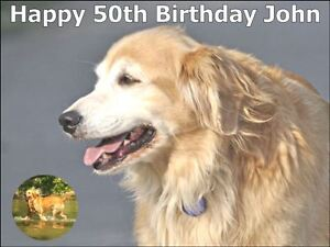 Astounding A4 Personalised Golden Retriever Dogs Birthday Cake Toppers On Funny Birthday Cards Online Alyptdamsfinfo